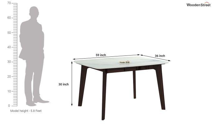 Amoha 4 Seater Marble Top Dining Set (Walnut Finish)-8