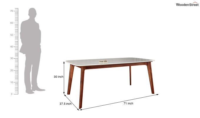 Amoha Marble Top Dining Table (Honey Finish)-5