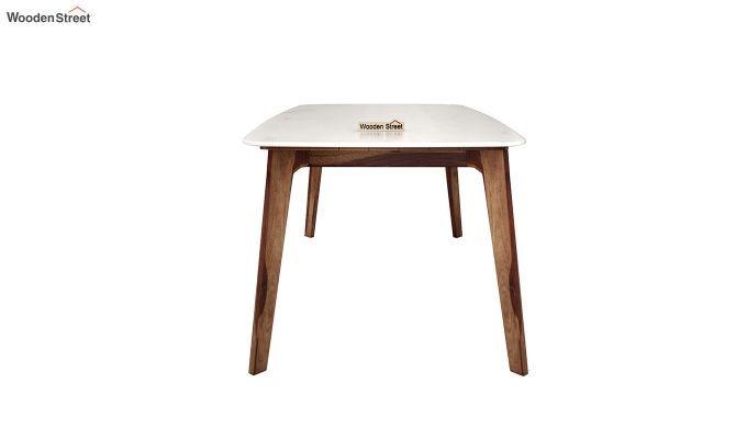 Amoha Marble Top Dining Table (Teak Finish)-4