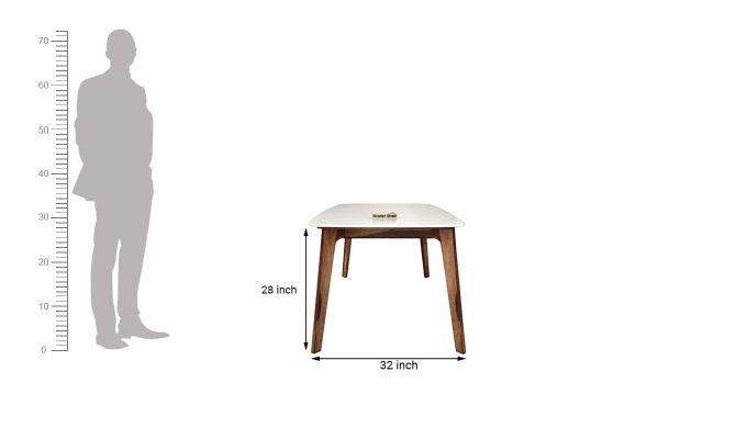 Amoha Marble Top Dining Table (Teak Finish)-6