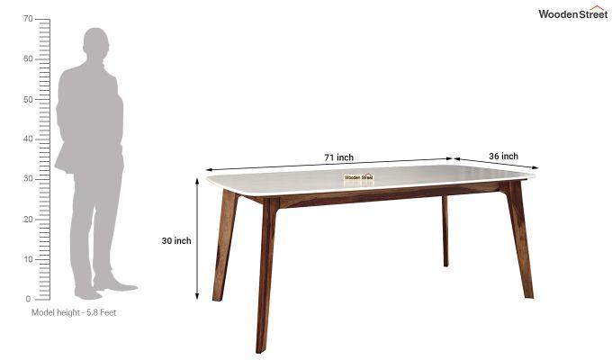 Amoha Marble Top Dining Table (Teak Finish)-5