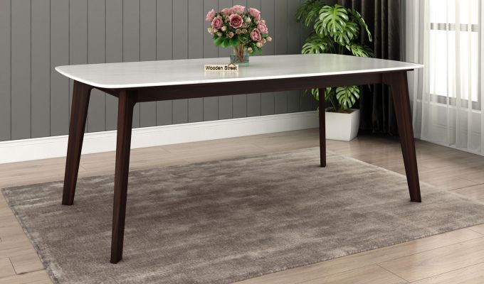 Amoha Marble Top Dining Table (Walnut Finish)-1