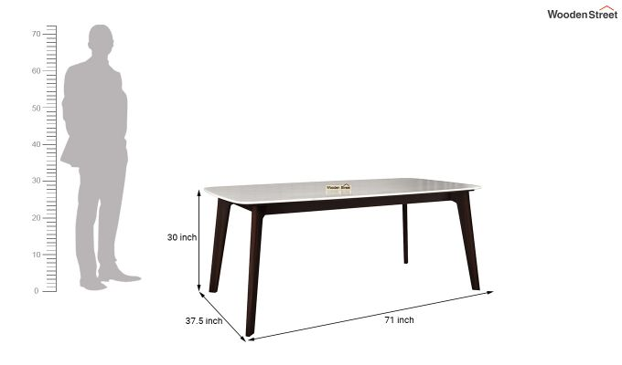 Amoha Marble Top Dining Table (Walnut Finish)-5