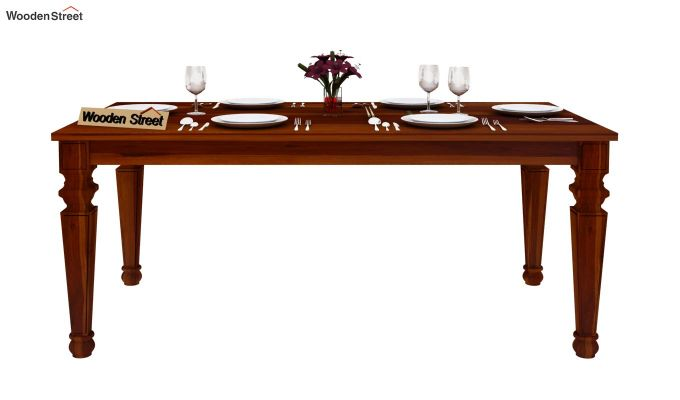 Ariana 6 Seater Dining Table (Honey Finish)-3