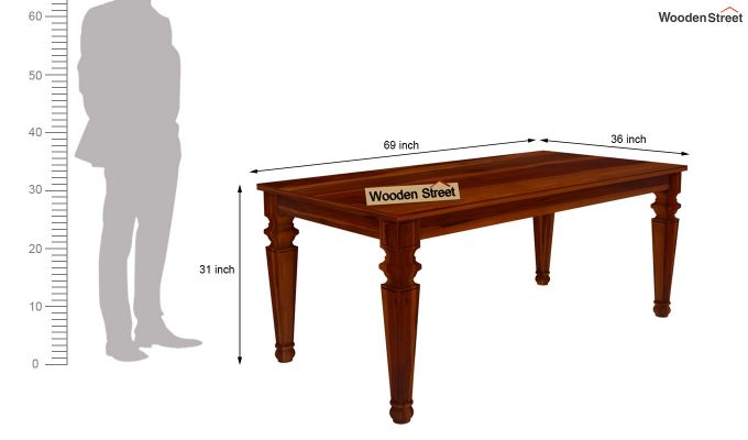 Ariana 6 Seater Dining Table (Honey Finish)-6