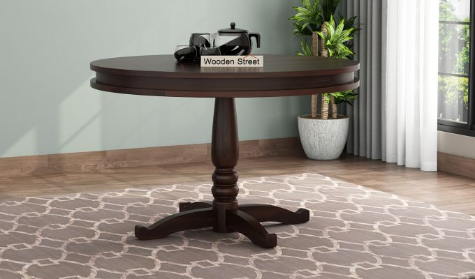 Atlas 2 Seater Round Dining Table (Walnut Finish)-1