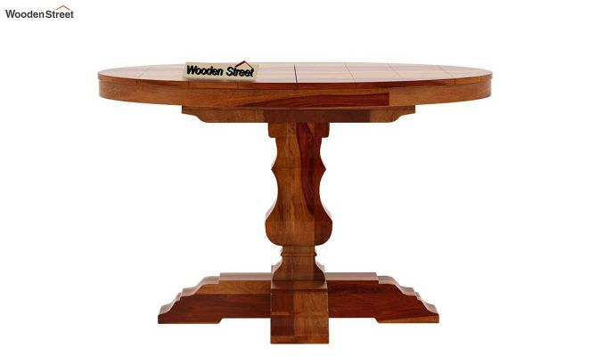 Clark Round 4 Seater Dining Table (Honey Finish)-5