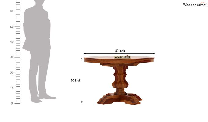 Clark Round 4 Seater Dining Table (Honey Finish)-6