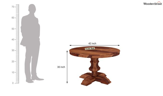 Clark Round 4 Seater Dining Table (Honey Finish)-4