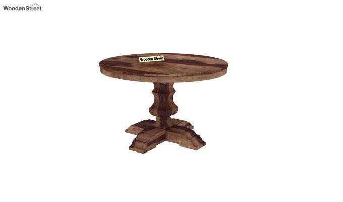 Clark Round 4 Seater Dining Table (Teak Finish)-2