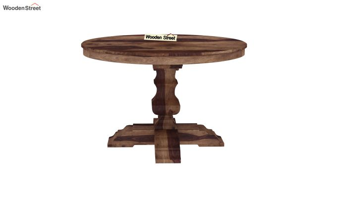 Clark Round 4 Seater Dining Table (Teak Finish)-3