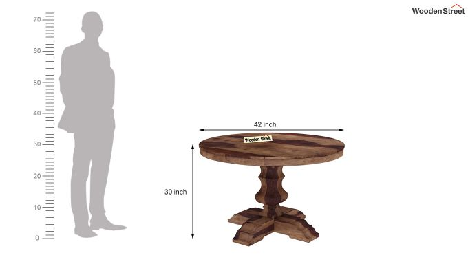 Clark Round 4 Seater Dining Table (Teak Finish)-4
