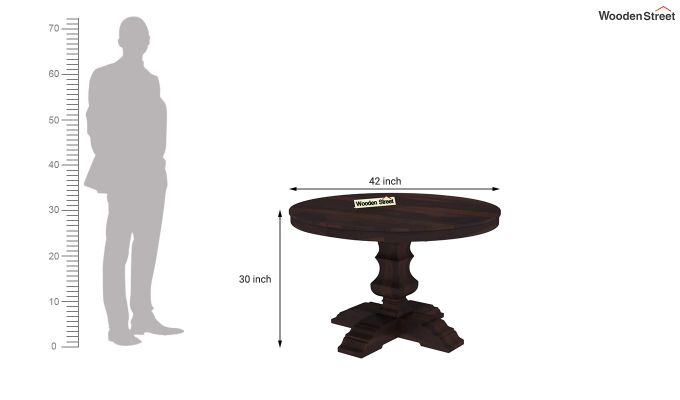 Clark Round 4 Seater Dining Table (Walnut Finish)-4
