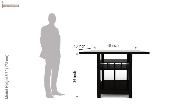 Cornel Dining Table With Storage (Black Finish)-4