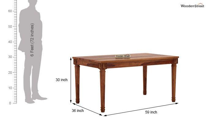 Henson 6 Seater Dining Table (Teak Finish)-5