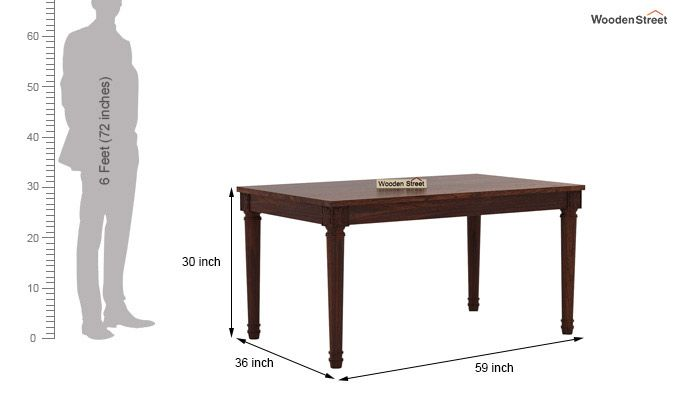 Henson 6 Seater Dining Table (Walnut Finish)-6