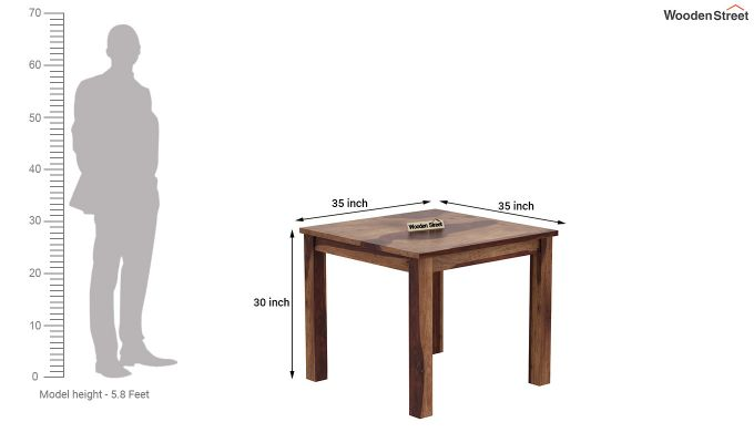 Janet 4 Seater Dining Table (Teak Finish)-4