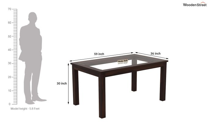 Janet 6 Seater Dining Set with Glass Top (Walnut Finish)-9