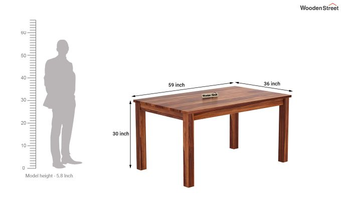Janet 6 Seater Dining Table (Honey Finish)-4