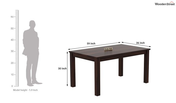 Janet 6 Seater Dining Table (Walnut Finish)-4
