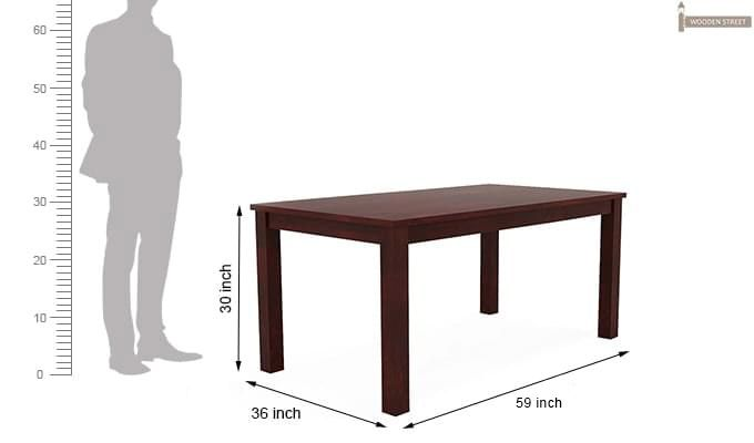Janet 6 Seater Dining Table Set With Bench (Mahogany Finish)-9
