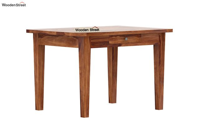Mcbeth 2 Seater Dining Table With Storage (Teak Finish)-4