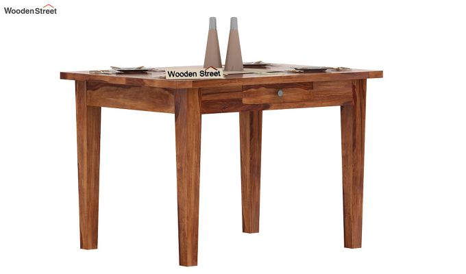 Mcbeth 4 Seater Dining Table With Storage (Teak Finish)-2