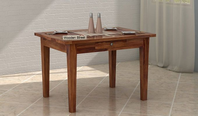 Mcbeth 4 Seater Dining Table With Storage (Teak Finish)-1