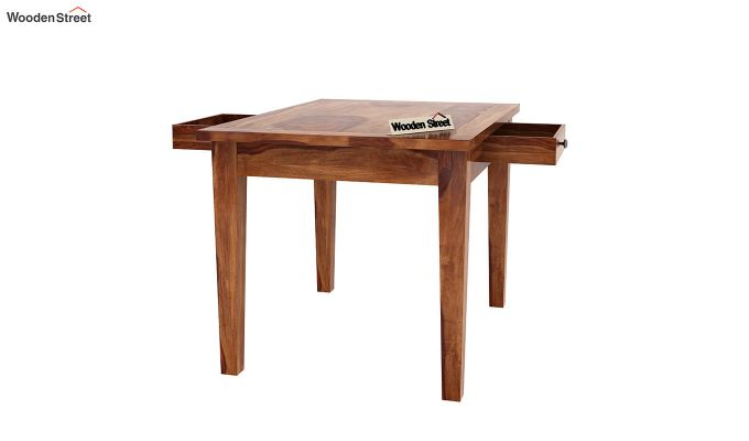 Mcbeth 4 Seater Dining Table With Storage (Teak Finish)-6