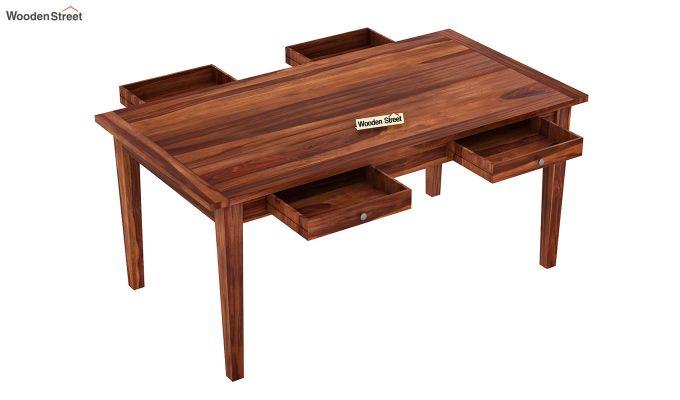 Mcbeth Dining Table With Storage (Honey Finish)-4