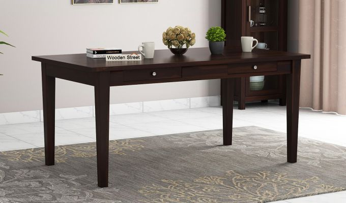 Mcbeth Dining Table With Storage (Walnut Finish)-1