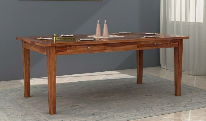 Mcbeth Dining Table With Storage (Teak Finish)-1
