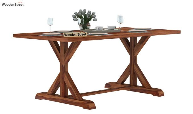 Mindy 6 Seater Dining Table (Teak Finish)-2