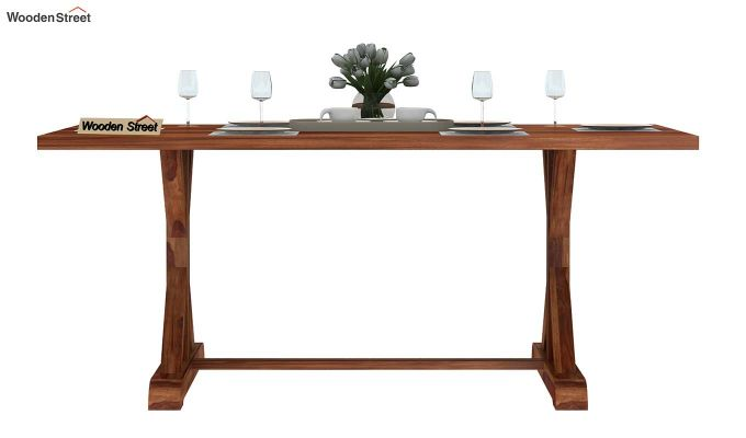 Mindy 6 Seater Dining Table (Teak Finish)-3