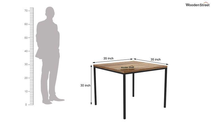 Olay Loft 2 Seater Dining Table (Teak Finish)-4