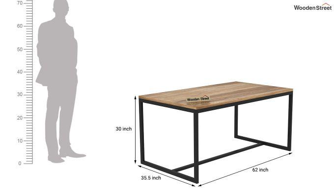 Olay Loft 6 Seater Dining Table (Teak Finish)-4