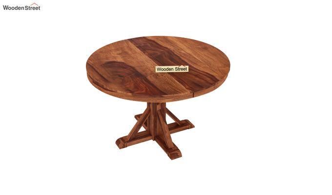 Orkus Round 4 Seater Dining Table (Honey Finish)-3