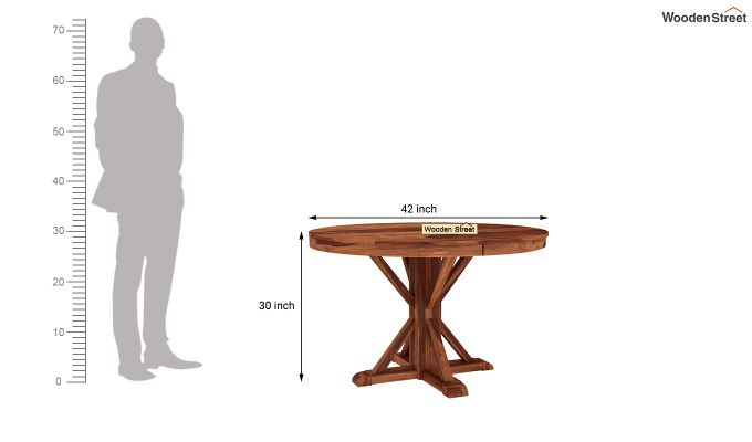 Orkus Round 4 Seater Dining Table (Honey Finish)-4