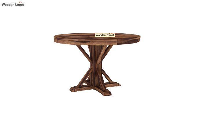 Orkus Round 4 Seater Dining Table (Teak Finish)-2