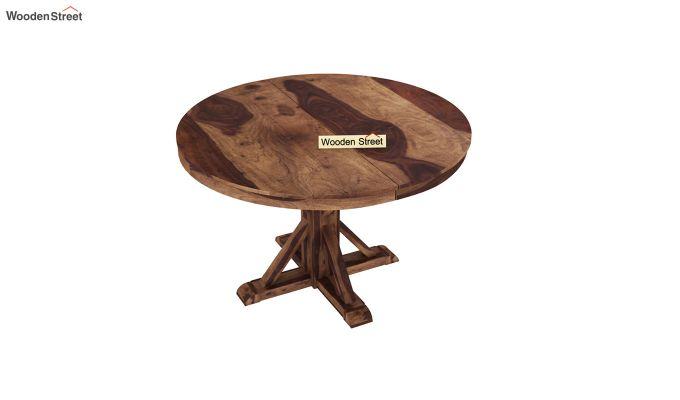 Orkus Round 4 Seater Dining Table (Teak Finish)-3