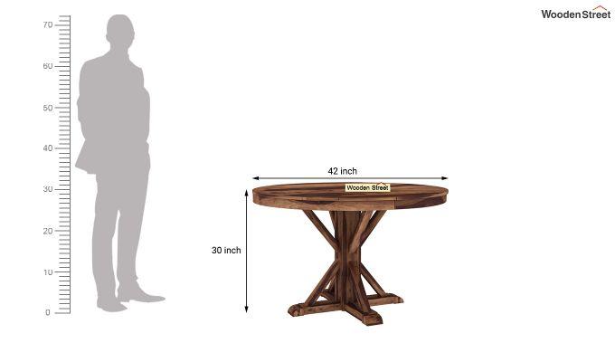 Orkus Round 4 Seater Dining Table (Teak Finish)-4