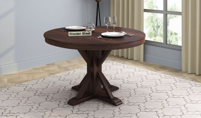 Orkus Round 4 Seater Dining Table (Walnut Finish)-1