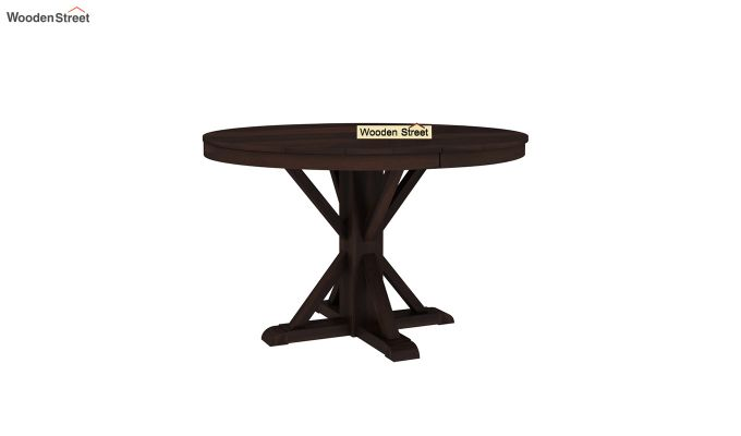 Orkus Round 4 Seater Dining Table (Walnut Finish)-2