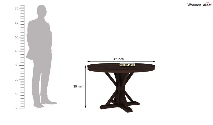 Orkus Round 4 Seater Dining Table (Walnut Finish)-4