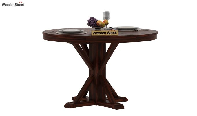 Orkus Round 4 Seater Dining Table (Walnut Finish)-2