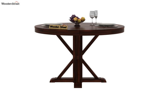 Orkus Round 4 Seater Dining Table (Walnut Finish)-3