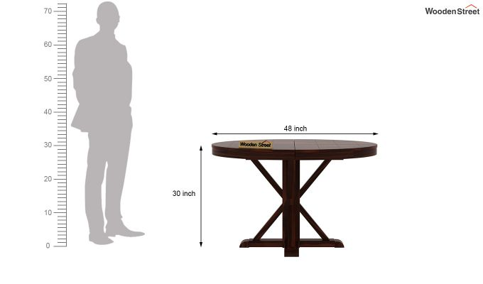 Orkus Round 4 Seater Dining Table (Walnut Finish)-6