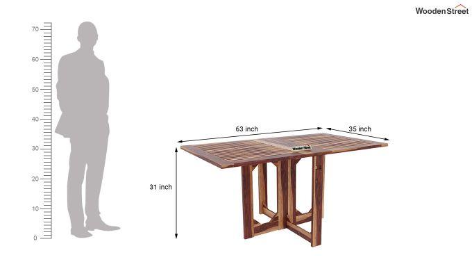Paul Foldable Dining Table (Teak Finish)-7