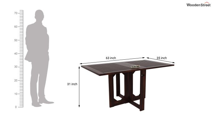 Paul Foldable Dining Table (Walnut Finish)-7