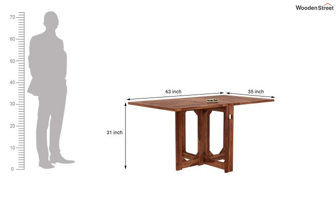 Paul Foldable Dining Table (Teak Finish)-12